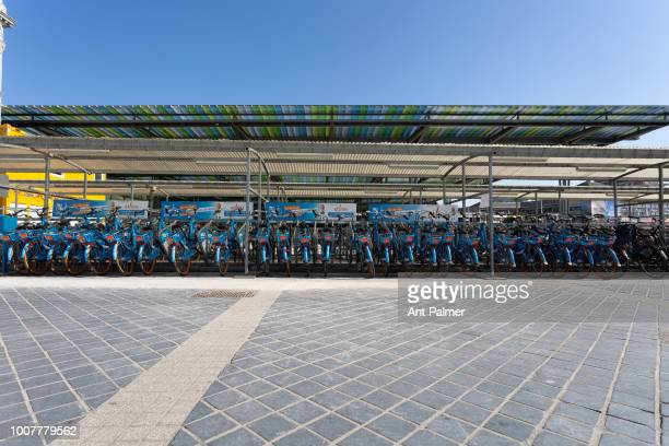 Rental bicycles parked outside the central train station on July 23 2018 in Ostend Belgium