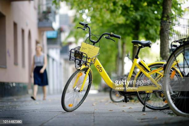 A rental bike from the bikesharing provider Ofo was parked on a sidewalk on August 08 2018 in Berlin Germany