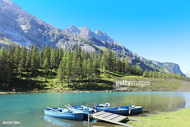 Rental Boats at Oeschinensee Lake in Switzerland