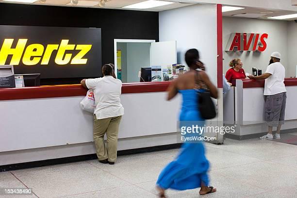 Rental car companies Hertz and Avis at Lynden Pindling International Airport or so called Nassau International Airport on June 15 2012 in Nassau The...