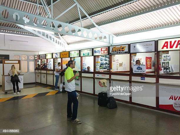 VICTORIA MAHE SEYCHELLES SEPTEMBER 22 2015 Rental car offices of Hertz Thrifty AVIS at arrival at Mahe International Airport with Air Seychelles on...