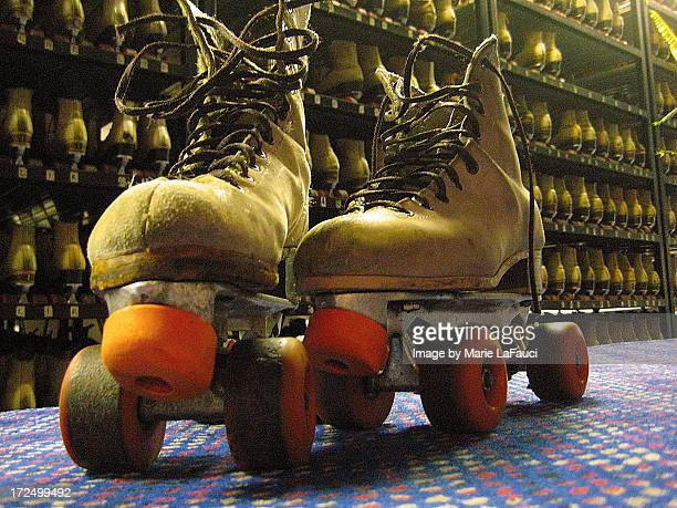 rental roller skates at skating rink - fauci stock pictures, royalty-free photos & images