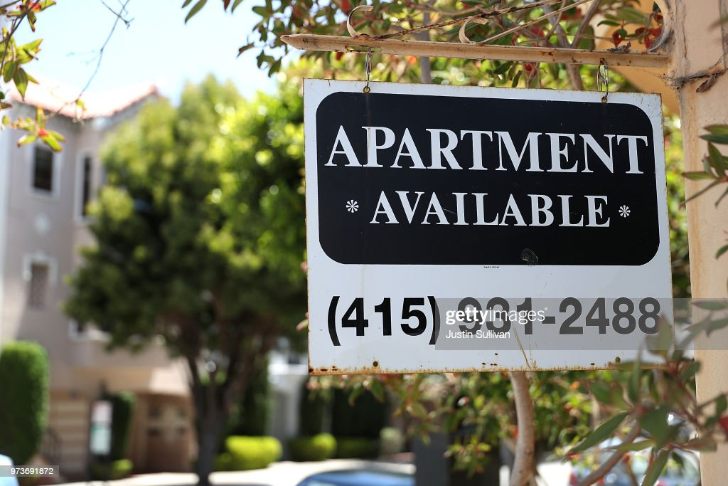 A rental vacancy sign is posted in front of an apartment on June 13, 2018 in San Francisco, California. According to a new survey by the National Low Income Housing Coalition, renters in San Francisco need an income of $60 per hour to afford a two bedroom apartment in the city. San Francisco is followed by San Jose at $48 per hour and Oakland at $45 per hour.