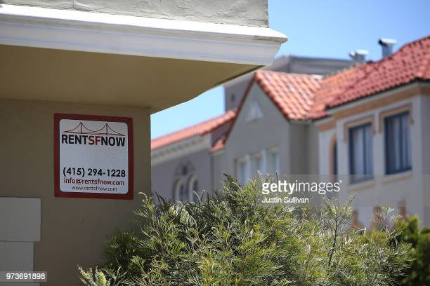 A rental vacancy sign is posted in front of an apartment on June 13 2018 in San Francisco California According to a new survey by the National Low...