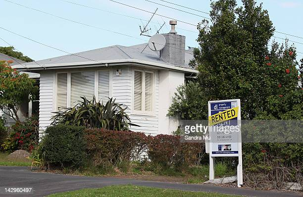 A rented property sign shows rentals are snapped up fast and at premium prices on April 16 2012 in Auckland New Zealand Housing sales have increased...