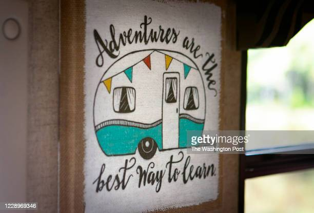 Rented RV is decorated with travel decor Saturday, September 19, 2020 at a KOA campground in Fredericksburg, Virginia.