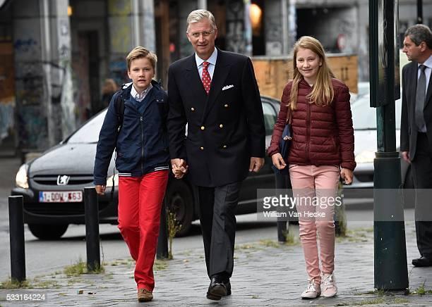 Rentrée des classes pour les enfants du Roi et de la Reine au Collège SintJanBerchmans le Roi Philippe y conduit la Princesse Elisabeth et le Prince...