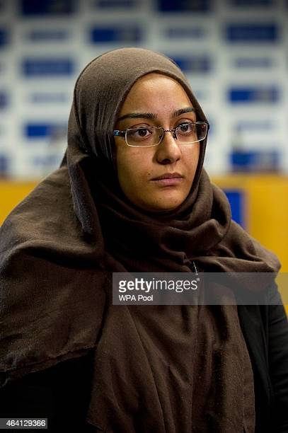 Renu Begum eldest sister of Shamima Begum interviewed by the media at New Scotland Yard as the relatives of three missing schoolgirls believed to...