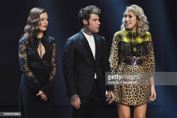 R Renza Castelli Fedez and Naomi attend X Factor tv show at Teatro Linear Ciak on November 8 2018 in Milan Italy