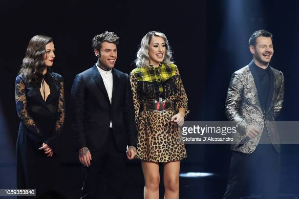 R Renza Castelli Fedez Naomi and Alessandro Cattelan attend X Factor tv show at Teatro Linear Ciak on November 8 2018 in Milan Italy