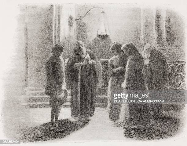 Renzo, Agnese and Lucia in the monastery with Fra Cristoforo and Fra Fazio, illustration by Gaetano Previati , from The Betrothed, A Milanese story...