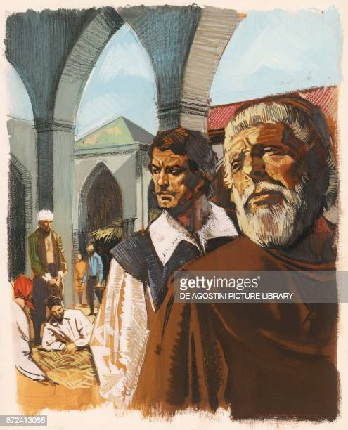 Renzo and Fra Cristoforo in the lazaretto illustration for The Betrothed historical novel by Alessandro Manzoni drawing