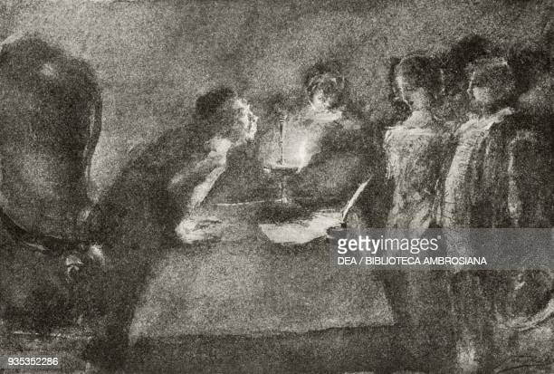 Renzo and Lucia trying to complete the surprise marriage in front of Don Abbondio, illustration by Gaetano Previati , from The Betrothed, A Milanese...