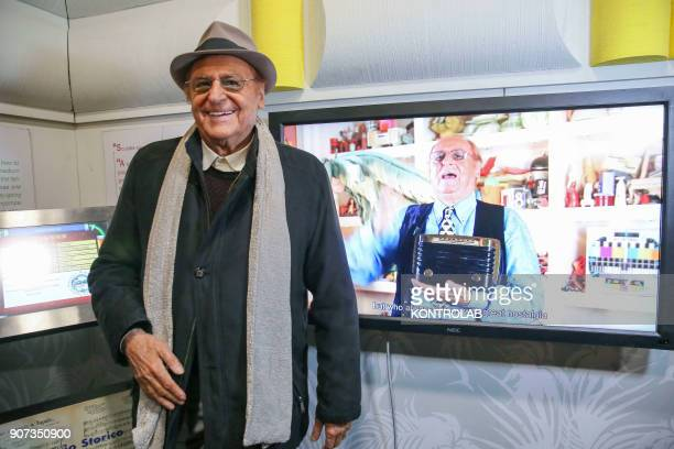 Renzo Arbore musician singer and showman during a moment of the exhibition 'Neapolitan Memories and Songs by Renzo Arbore and his TV shows and...