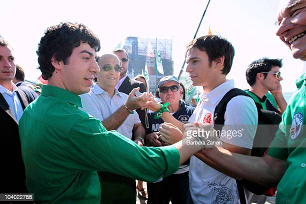 Renzo Bossi, the son of Northern League Party leader Umberto Bossi, attends the Lega Nord Annual Party Rally on September 12, 2010 in Venice, Italy....