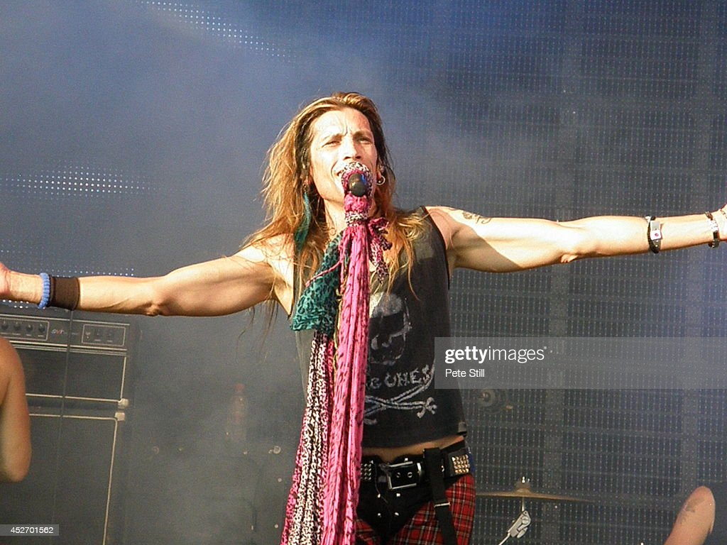 Renzo D'Aprano of italian Aerosmith tribute band Big Ones performs on stage at the Silverstone Classic at Silverstone on July 25, 2014 in Northampton, United Kingdom.