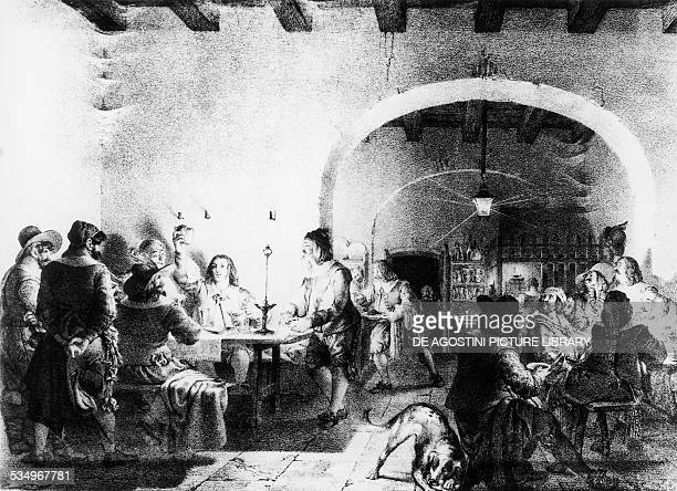 Renzo in the Full Moon tavern The Betrothed by Alessandro Manzoni illustration by Gallo Gallina edition published in Milan in 1828 Italy 19th century