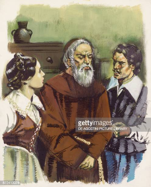 Renzo, Lucia and Fra Cristoforo, illustration for The Betrothed, historical novel by Alessandro Manzoni , drawing.