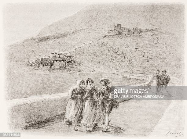 Renzo, Lucy and Agnese departing for Bergamasco, illustration by Gaetano Previati , from The Betrothed, A Milanese story of the 17th century, History...