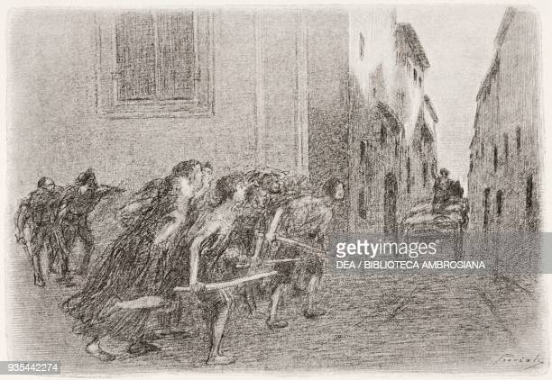 Renzo, mistaken for an infector, is saved from the angry crowd by jumping on the wagon for the dead, illustration by Gaetano Previati , from The...