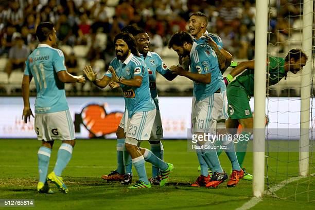 Renzo Revoredo of Sporting Cristal celebrates the first goal of his team against Alianza Lima during the 6th round match between Alianza Lima and...