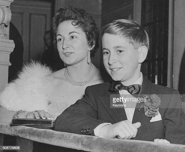 Renzo Rossellini son of film director Roberto Rossellini with his cousin Mucci Barbieri at the opening night of the play 'Joan of Arc at the Stake'...