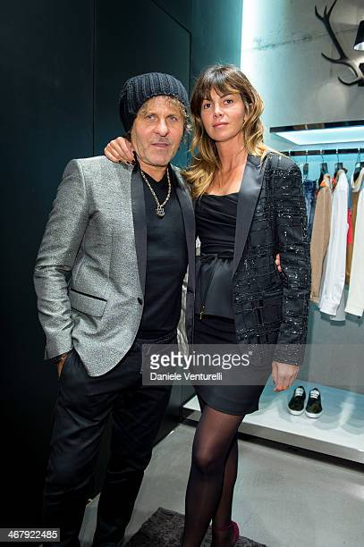 Renzo Rosso and Arianna Alessi attend Dsquared2 St Moritz New Store Opening Cocktail Reception on February 8 2014 in St Moritz Switzerland