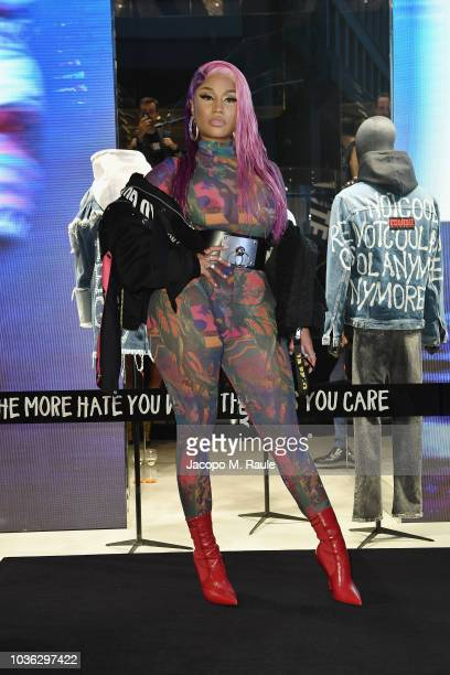 Renzo Rosso and Nicki Minaj attend Diesel Hate Couture on September 19 2018 in Milan Italy