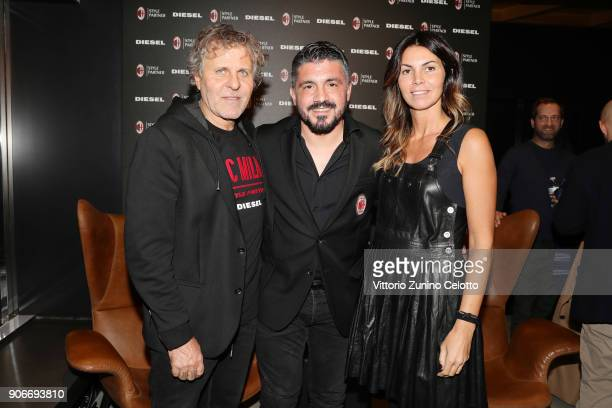 Renzo Rosso Gennaro Gattuso and Arianna Alessi attend DIESEL X AC MILAN SPECIAL COLLECTION on January 18 2018 in Milan Italy