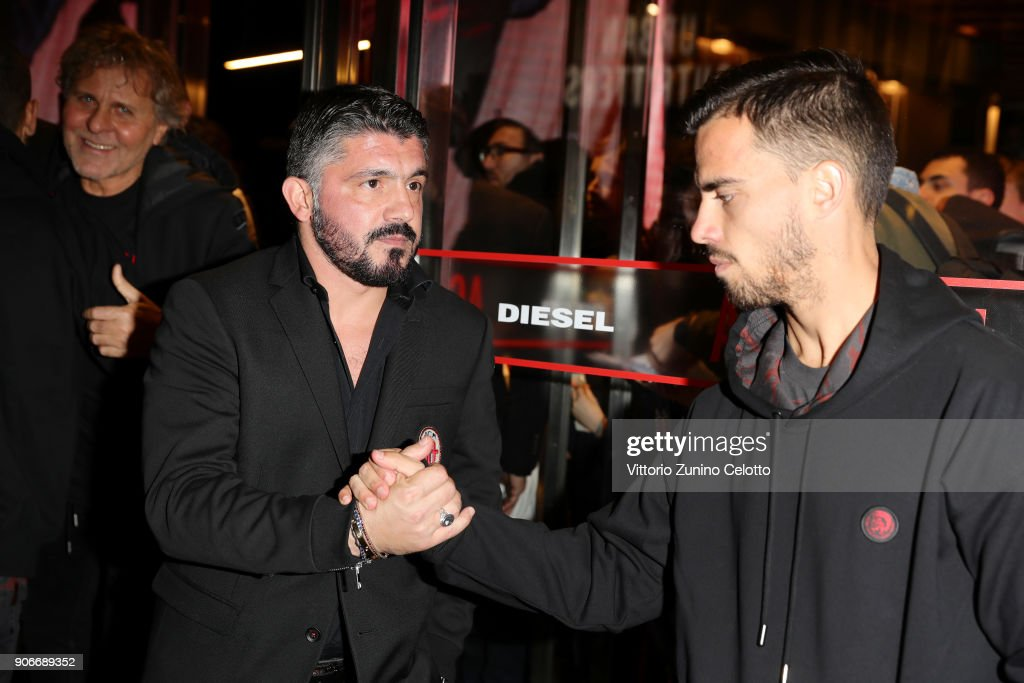 Renzo Rosso, Gennaro Gattuso and Suso attend DIESEL X A.C. MILAN SPECIAL COLLECTION on January 18, 2018 in Milan, Italy.