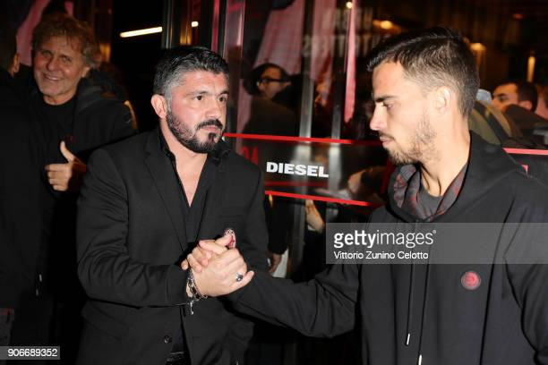 Renzo Rosso Gennaro Gattuso and Suso attend DIESEL X AC MILAN SPECIAL COLLECTION on January 18 2018 in Milan Italy