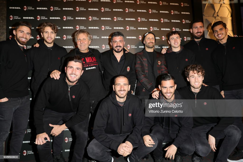 Renzo Rosso, Gennaro Gattuso, Andrea Rosso, Davide Calabria, Leonardo Bonucci, Patrick Cutrone, Fernandez Suso, Andre Silva, Hakan Calhanoglu attends DIESEL X A.C. MILAN SPECIAL COLLECTION on January 18, 2018 in Milan, Italy.