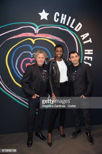 Renzo Rosso; Model Maria Borges and Stylist Nicola Formichetti attend Fashion For Relief 'Child At Heart' cocktail party on April 20, 2017 in Paris,...