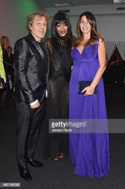Renzo Rosso Naomi Campbell and Arianna Alessi attend amfAR Milano 2015 at La Permanente on September 26 2015 in Milan Italy