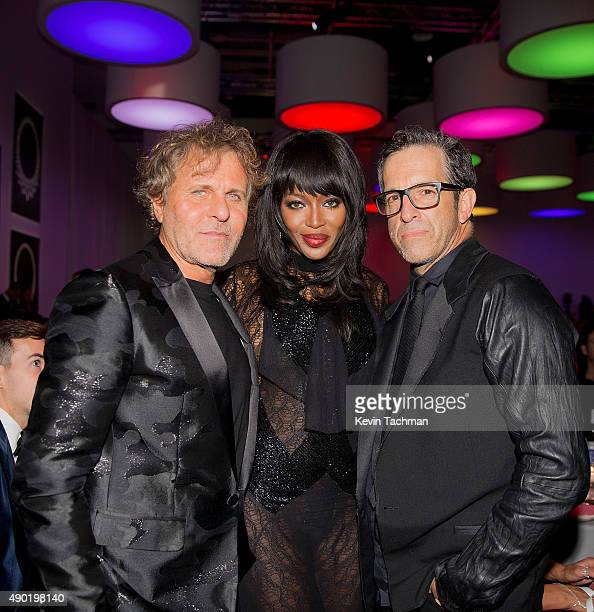 Renzo Rosso Naomi Campbell and Kenneth Cole attend amfAR Milano 2015 at La Permanente on September 26 2015 in Milan Italy