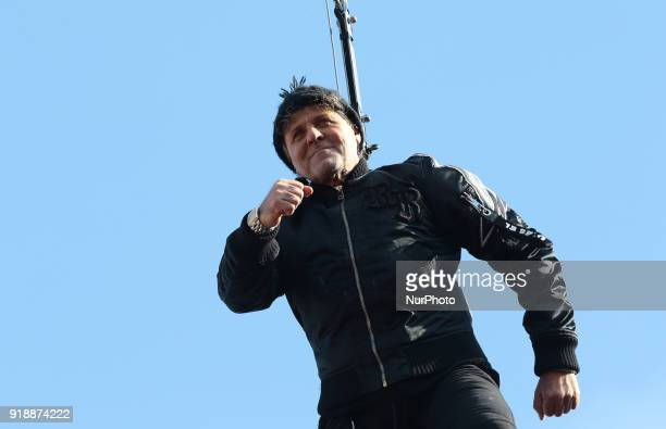 Renzo Rosso performs at the event of the Eagle Flight on February 11 2018 in Venice Italy The theme for the 2018 edition of Venice Carnival is...