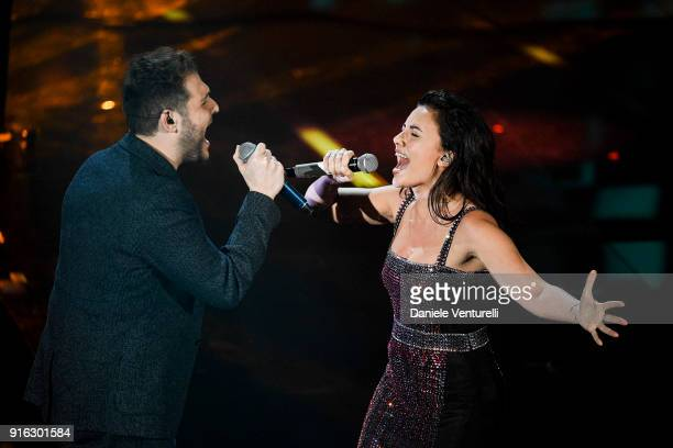 Renzo Rubino and Serena Rossi attend the fourth night of the 68. Sanremo Music Festival on February 9, 2018 in Sanremo, Italy.