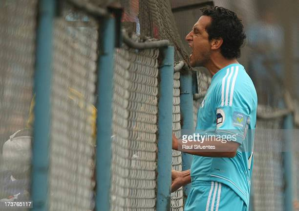 Renzo Sheput of Sporting Cristal celebrates a goal during a match between Sporting Cristal and Real Garcilaso as part of the Torneo Descentralizado...