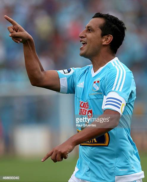 Renzo Sheput of Sporting Cristal celebrates after scoring the first goal of his team during a match between Sporting Cristal and Municipal as part of...