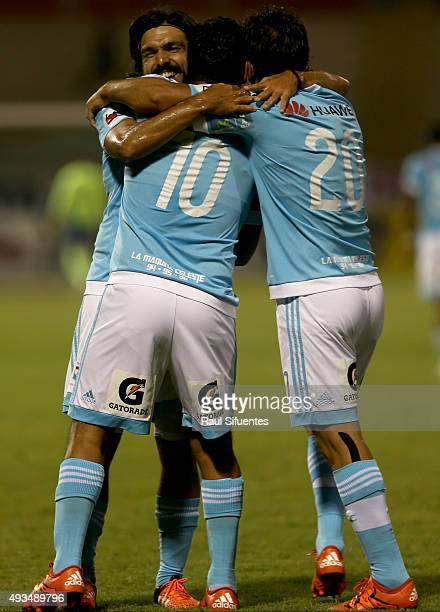 Renzo Sheput of Sporting Cristal celebrates after scoring the first goal of his team against Cesar Vallejo during a 10th round match between Cesar...