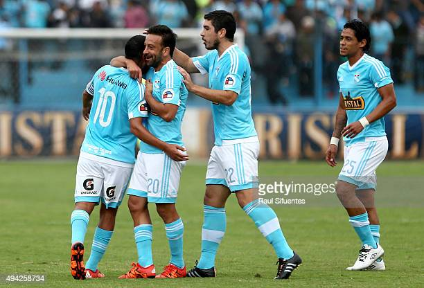 Renzo Sheput of Sporting Cristal celebrates after scoring the first goal of his team against Juan Aurich during a match between Sporting Cristal and...