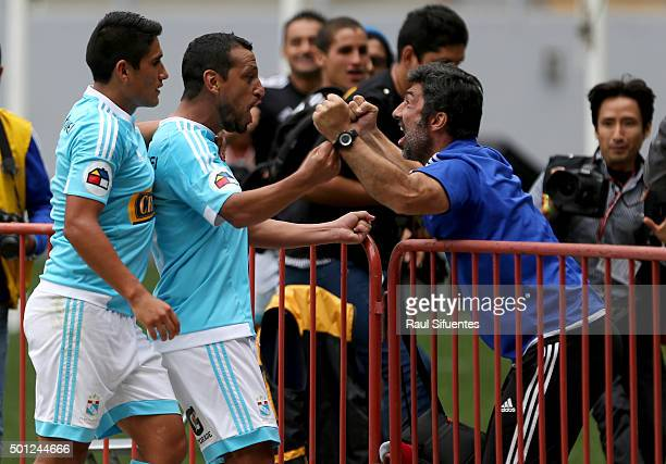 Renzo Sheput of Sporting Cristal celebrates after scoring the second goal of his team against FBC Melgar during a first leg final match between...