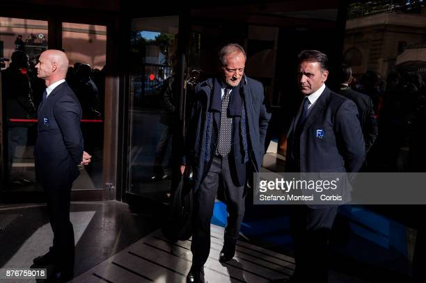 Renzo Ulivieri President of the Italian Coaches Association leaves the headquarters of the Italian Football Federation after the meeting of the...
