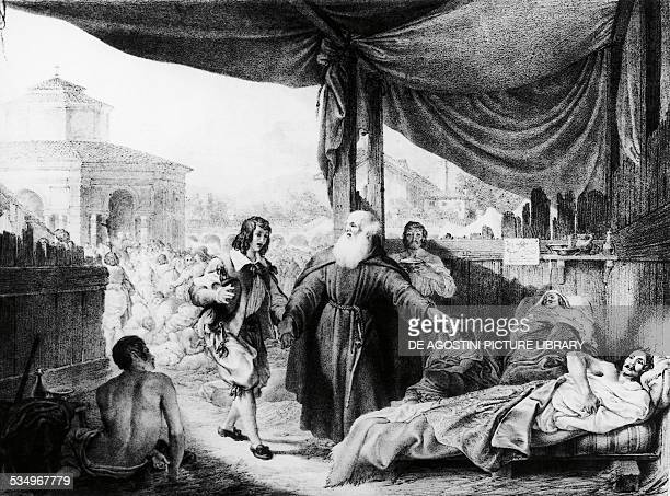 Renzo with Friar Christopher among the lepers, The Betrothed, by Alessandro Manzoni , illustration by Gallo Gallina , edition published in Milan in...