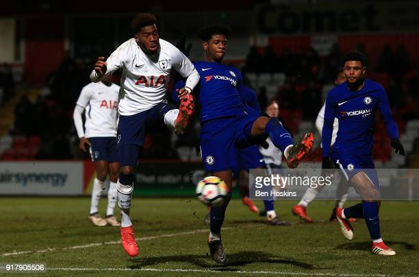 Reo Griffiths of Tottenham and Jonathan Panzo of Chelsea battle for the ball during the FA Youth Cup match between Tottenham Hotspur and Chelsea at...