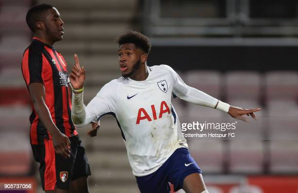 Reo Griffiths of Tottenham Hotspur celebrates after scoring his teams second goal of the game during the FA Youth Cup match between Bournemouth U18...