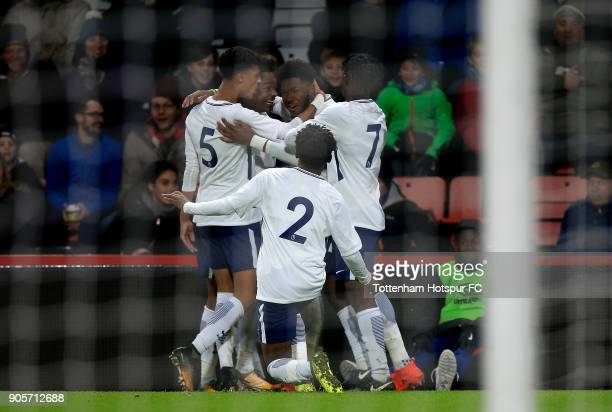 Reo Griffiths of Tottenham Hotspur celebrates with team mates after scoring the opening goal of the game during the FA Youth Cup match between...