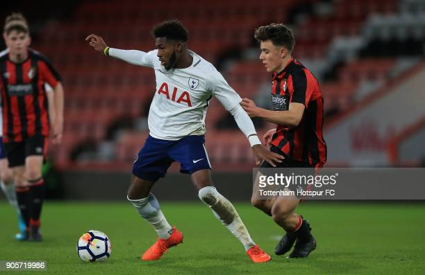 Reo Griffiths of Tottenham Hotspur holds off pressure from Luke Nippard of Bournemouth during the FA Youth Cup match between Bournemouth U18 and...