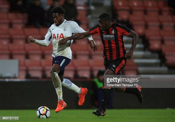 Reo Griffiths of Tottenham Hotspur holds off pressure from Nnamdi Ofoborh of Bournemouth during the FA Youth Cup match between Bournemouth U18 and...