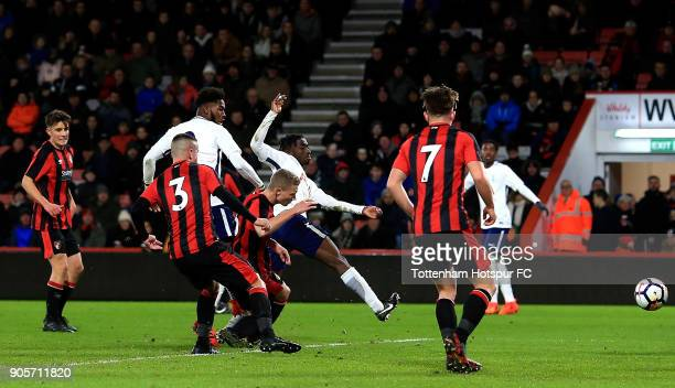 Reo Griffiths of Tottenham Hotspur scores the opening goal of the game during the FA Youth Cup match between Bournemouth U18 and Tottenham Hotspur...